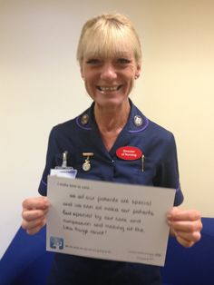 """Carole Ribbins, Director of Nursing: """"as all our patients are special and we can all make our patients feel special by our care and compassion and making all the little tings count!"""""""