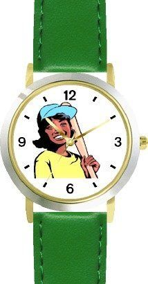 Girl with Baseball Bat Baseball Theme - WATCHBUDDY® DELUXE TWO-TONE THEME WATCH - Arabic Numbers - Green Leather Strap-Children's Size-Small ( Boy's Size & Girl's Size ) WatchBuddy. $49.95