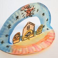 Kerst - Het kerstverhaal - Knutselen met kinderen - Pink Stripey Socks: Easy Pop Up Paper Plate Nativity