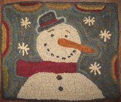 Hooked by my best friend Julie Rug Hooking Designs, Rug Hooking Patterns, Christmas Rugs, Hand Hooked Rugs, Primitive Snowmen, Penny Rugs, Wool Applique, Cross Stitching, Needlepoint