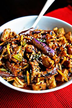 A meal made in 20 minutes, Szechwan Eggplant and Pork Stir-Fry has a beautifully spice sauce of chili paste, black bean sauce, ginger, soy sauce, honey, apple cider vinegar and sesame oil.