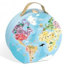 Our Planet World Map Round Double Sided 208 pc Puzzle - Educational Toys Planet. Great gift for 6 years old child. Travel aROUND the world putting together this beautifully illustrated map of the world double-sided circular jigsaw by Janod! Develops Skills - geography, continents, oceans, animals, landmarks, planning skills, thinking skills. #toys #learning #educational #gifts #child https://www.educationaltoysplanet.com/our-planet-world-map-round-double-sided-208-pc-jigsaw-puzzle.html