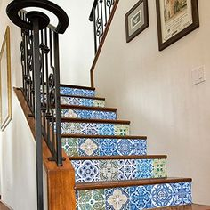 Vinyl Wall Home Decor Stickers for Staircase Portuguese Tiles Patterns Stairs Pack N2 (Pack with 24) (4 x 4 inches) Moonwallstickers.com