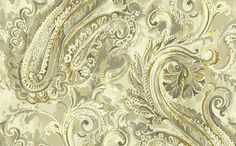 Classic Paisley Wallpaper in Beige and Metallic design by Seabrook Wallcoverings