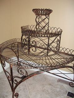 High  Victorian Wire Work Etagere Plant Stand