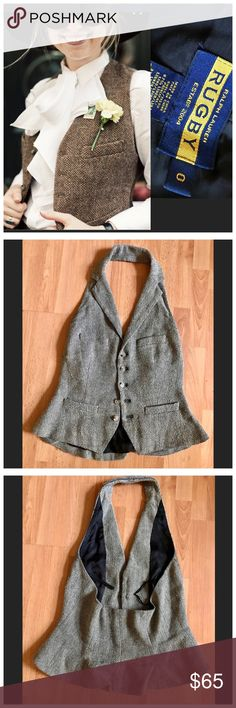 Ralph Lauren Rugby Linen/Silk Herringbone Vest Ralph Lauren Rugby Womens Linen/Silk Herringbone Halter Suit Vest $188 size 0  Perfect condition with no flaws!   Tailored vest in herringbone pattern,   * Halter style, notched lapel,  * Five-button silhouette, genuine horn buttons closure at the front,  * Front shaping darts.   * Back princess seams for a flattering fit.  * Welt pockets at the hips,   * Fully lined.  Color: Black & Ivory Herringbone. Composition: Shell: 67%…