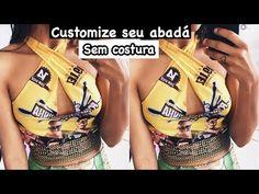 DIY: CUSTOMIZAÇÃO DE ABADÁ - YouTube Custom Clothes, Diy Clothes, Diy Camisa, Cut Shirts, Dyi, Carnival, Crop Tops, Swimwear, How To Make