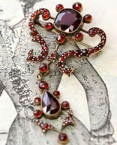 Antique Bohemian Garnet Brooch