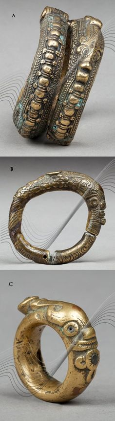 Indonesia ~ Sumatra   Two bracelets and a ring from the Toba Batak people.  A) Ø 9.5 cm; brass.  B) Ø 7.5 cm; brass and copper and C) Ø 3.5 cm; brass and copper   Top to bottom) HP 325€, 80€ and 70€ ~ all sold (Nov '15) // 136031874109