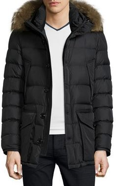 Cluny Nylon Puffer Jacket with Fur Hood, Navy, Black - Moncler