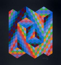 Gestalt, different colored squares put together to give the appearance of a room