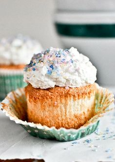 Cozy Up with an Angle Food Cupcake. Um, can you say delicious!