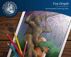 Dryad Coloring Page, Tree Spirit, Forest Guardian, Fox Companion, Digital Download