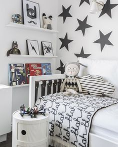 black white corner with the bed at 5 year old Sebastian- Sissy+Marley design
