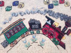 Vintage Handmade 1955 The Little Engine That Could Train Hooked Rug