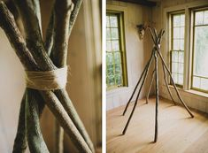 Could make this outside and throw a sheet over with clothes pins for camping!! Teepee DIY | The Merrythought