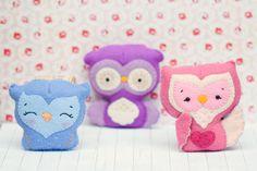 PDF. Owl family garland 2.  Plush Doll Pattern, Softie Pattern, Soft felt Toy Pattern.