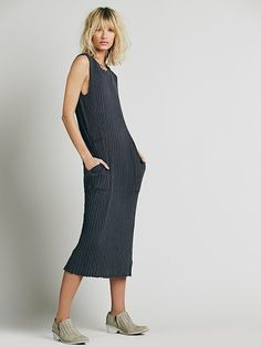 FP Beach Simple Cool Column Maxi at Free People Clothing Boutique / when i feel like being an artist from the early 1990s / cotton ribbed graphite gray raw hem