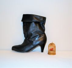 Vintage Black Pirate Leather Boot by CheekyVintageCloset on Etsy
