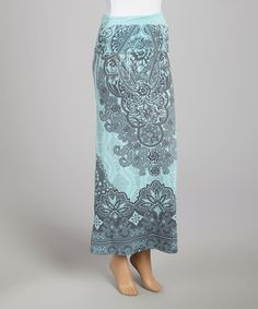 Blue & Black Brocade Maxi Skirt | something special every day