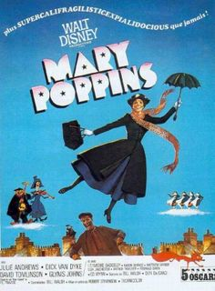 Mary Poppins is a 1964 American musical fantasy film directed by Robert Stevenson and produced by Walt Disney, with songs written and composed by the Sherman Brothers. Mary Poppins 1964, Mary Poppins Movie, Disney Movie Posters, Classic Movie Posters, Classic Movies, Disney Movies, Walt Disney, Disney Pixar, Film Musical