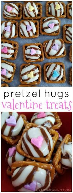 These are the cutest Valentine treats ever!! Pretzel hugs with heart sprinkles! Makes great gifts.