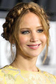 Jennifer Lawrence infrench peasant (tiara) braid #Hairstyle