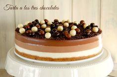 Tarta a los tres chocolates - MisThermorecetas Chocolate Thermomix, Thermomix Desserts, Mousse, Sin Gluten, Gluten Free, Flan, Amazing Cakes, Tapas, Catering