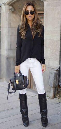 Fall / Winter - street chic style - black chiffon shirt + white skinnies + black knee high boots + black messenger bag + black sunglasses