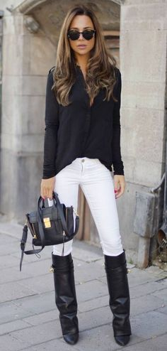 Fall / Winter - street chic style - black chiffon shirt + white skinnies + black knee high boots + black messenger bag + black sunglasses