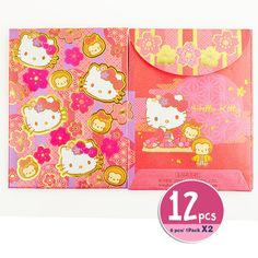 ed78497e0581 Hello Kitty Chinese New Year of the Monkey Red Envelopes Packet 12 pcs Face  Pink