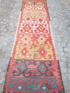 9,15 x 2,75 feet, Amazing kilim runner rug with Tribal Pattern