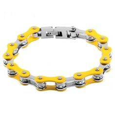 """1/2"""" Wide Two Tone Silver & Yellow with crystal centers motorcycle chain."""