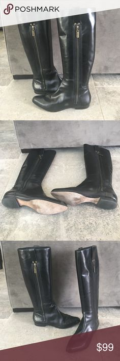Michael Kors Tall Black Leather Boots All Leather. Black. Pointed Toe. Good Used Conditon . Shows Wear on bottom. Small scuffs as pictured could be buffed out. Size 8.5. KORS Michael Kors Shoes