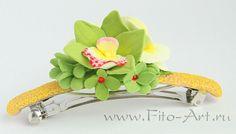 Заколка с зеленой орхидеей. Полимерная глина. Екатерина Звержанская.