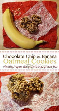 Healthy Chocolate Chip Banana Oatmeal Cookies (vegan, gluten-free, high fiber)