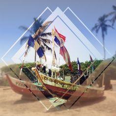#Ghana#beach#kokrobite#palm#boat#wood#flags