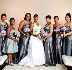 Silver Bridal Party Dresses