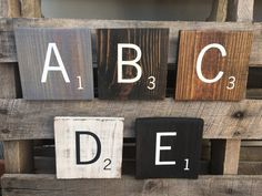 Large Oversized 5.5 Inch Square Reclaimed Wood Scrabble Tiles/Hand Painted Wooden Scrabble Tiles/Wall Hanging/Wall Decor