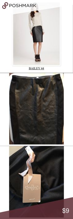 BAILEY 44 Black Skirt-NWT Brand new w tags, never worn, no defects Faux leather front, rest of material poly blend spandex Size 6                               ✨ Happy Poshing 😘 Bailey 44 Skirts