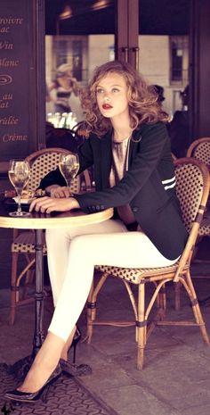Frida Gustavsson -  LOVE this outfit. White slim pants, copper silk tank, navy blazer, brown hair, deep wine red lipstick - love!