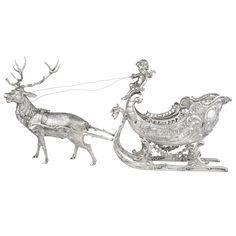 Estate Betteridge Collection Silver Christmas Reindeer & Sleigh Sculpture