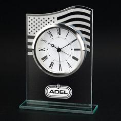 US American Flag Glass Clock - Class U.S flag alarm clock.