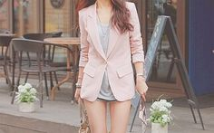 Pink Blazer Outfit with Shorts.