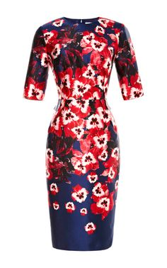 Prabal Gurung Fitted Floral-Print Satin Dress