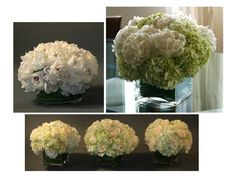 Centerpiece Designs- Peonies and hydrangea chic www.irisrosin.com