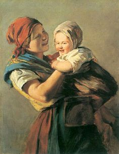 Young Mother With Her Child.Waldmuller
