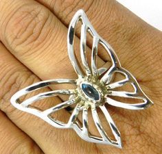 charm fashion blue topaz gemstone butterfly design 925 silver ring size8 jewelry #Magicalcollection #Cocktail
