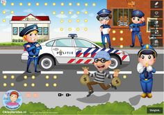 TOUCH this image: Interactieve praatplaat, thema politie, kleuteridee.nl by juf Petra Action Images, Community Helpers, Ambulance, Kindergarten, Family Guy, Scene, School, Kids, Fictional Characters