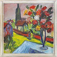 D - IVAN IVARSON 1900-1939 Balkongutsikt med blomsterprakt Signerad I Ivarson. Olja på pannå, 60 x 60 cm. Ivan Ivarson är väl den målare som, tillsammans med Carl Kylberg , kommer färgromantiken på 1930-talet närmast. Man har sagt att han inte hade så lätt för att i ord uttrycka sin konstuppfattning, men han har i alla fall uttalat följande...
